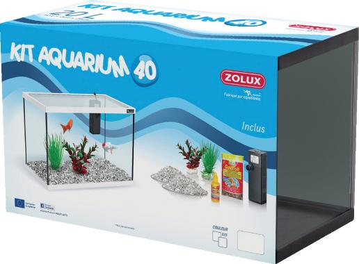Kit aquarium poisson 40cm blanc zolux aquariophilie for Kit poisson rouge
